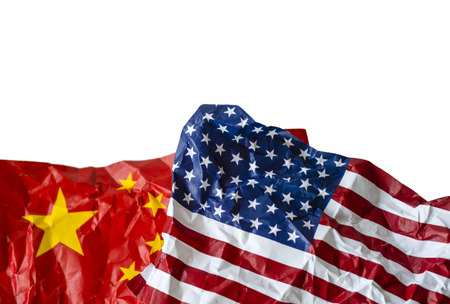 Wrinkle of USA and China flag on sky background. It is symbol of United states of America and China tariff trade war and tech war crisis between biggest economic country in the world.
