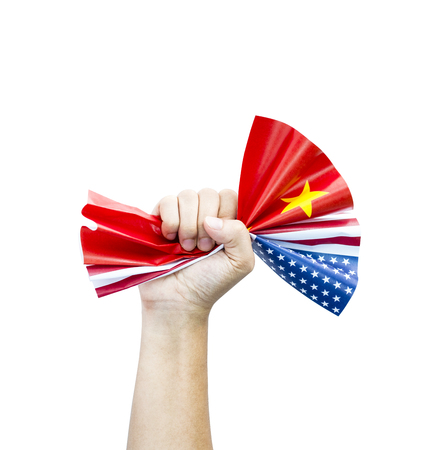 Fist crumpled USA and China flags on white background.United States of America versus China trade war disputes concept. - Image