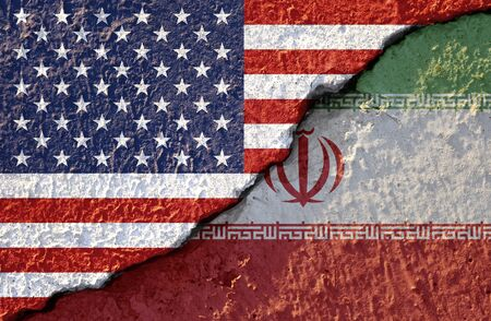 USA flag and Iran flag on cracked wall damage. United state of America and Iran have conflict in nuclear weapons and Strait of Hormuz.