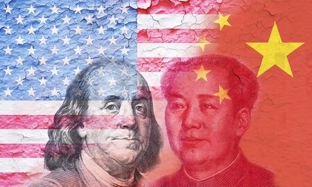 USA flag and China flag with Benjamin Franklin and Mao Tse tung .It is symbol of tariff trade war tax barrier between United States of America and China.
