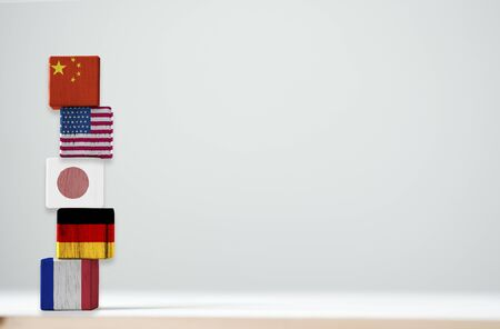 Print screen of flag on wooden cubic of top 5 the biggest economic countries include China USA Japan Germany and France. 스톡 콘텐츠