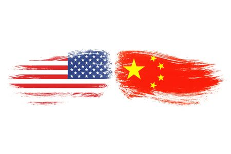 USA and China flag on white background which it symbol of United states of America and China economic tariff trade war crisis. Copy space and illustration. 스톡 콘텐츠