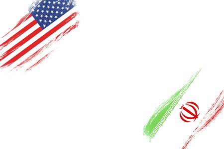 USA and Iran flag on white background. United state of America and Iran have conflict in nuclear weapons and Strait of Hormuz.