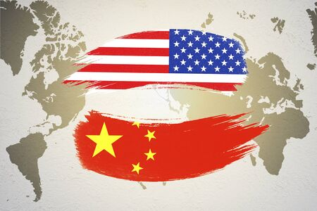 USA and China flag on world map which it symbol of United states of America and China economic tariff trade war crisis. Copy space and illustration.