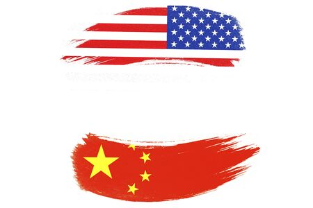 USA and China flag on white background which it symbol of United states of America and China economic tariff trade war crisis. Copy space and illustration. Zdjęcie Seryjne