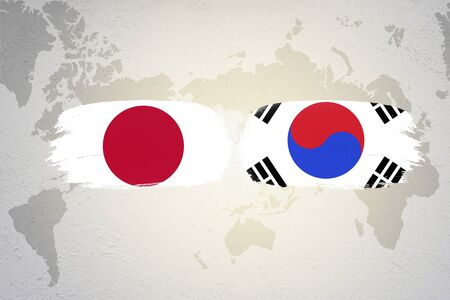 Illustration of Japan and South Korea flag on world map. Historical of both countries have continuous war and conflict.