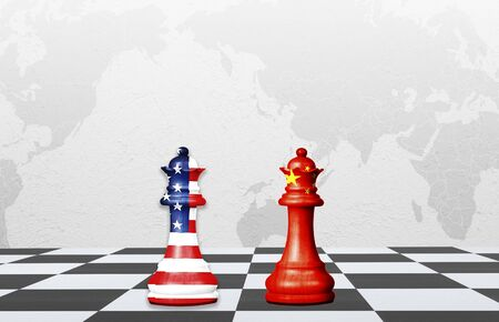 USA and China flag print screen on chess with world map background.