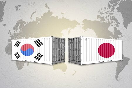 Japan and South Korea flag print screen on shipping container on world map.