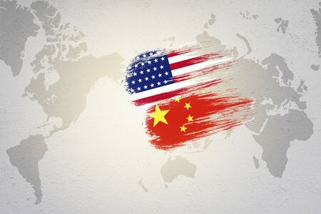 USA and China flag on world map which it symbol of United states of America and China economic tariff trade