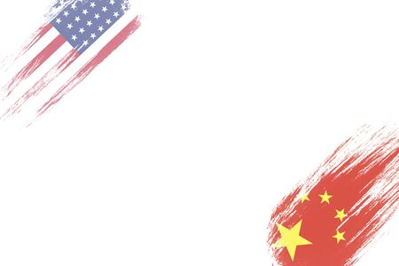 USA and China flag on white background which it symbol of United states of America and China economic tariff trade