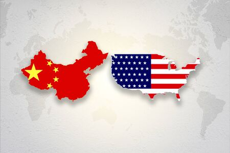 Print screen USA and China flag on each countries map background.United States of America versus China trade