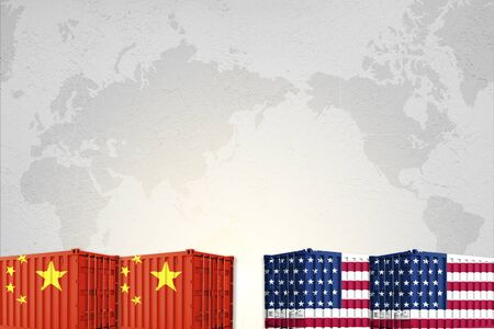 Print screen USA and China flag on shipping container on world map background. United States of America versus China trade