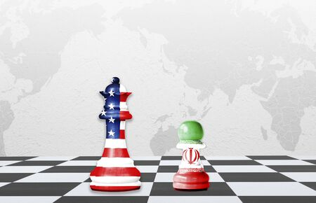 USA and Iran flag print screen on chess with world map background. 스톡 콘텐츠