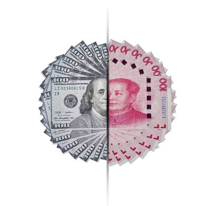 US dollar and Yuan banknote on white background. Its is symbol for tariff trade war crisis between United States of America and China which the biggest economic country in the world.