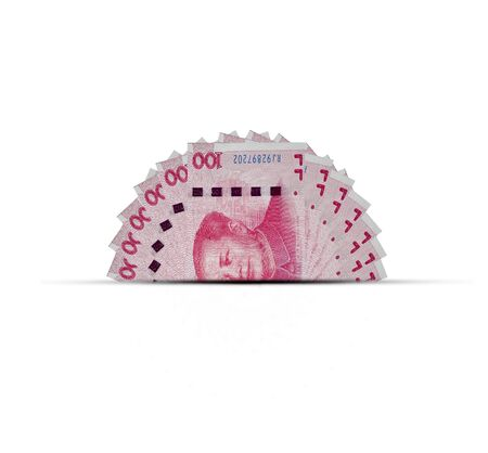 A half of China Yuan banknote on white background. Yuan is worldwide currency and popular for exchange with others.