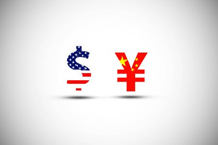 US dollar sign and China Yuan sign .IIt is symbol of economic tariffs trade war and tax barrier between United States of America and China.