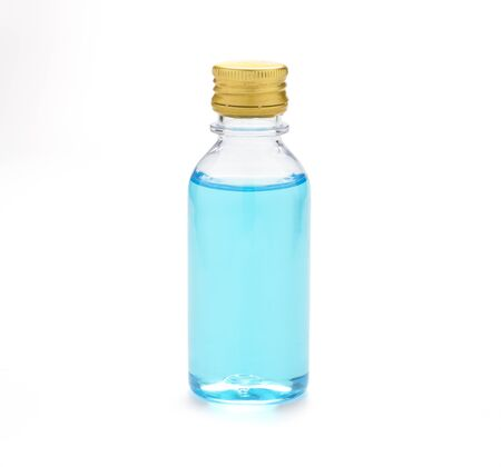Closeup of 70% blue alcohol in bottle on white background. It is ethyl alcohol for cleaning hand to prevent corona virus or COVID 19.