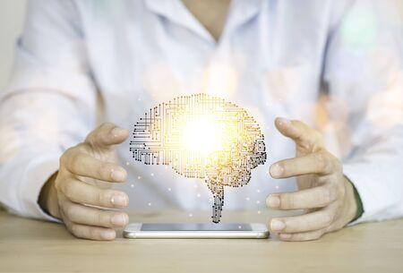 Hand holding creativity illustration electronic circuit brain. It is artificial intelligence and AI technology concept.