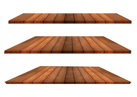 Isolated collection of perspective teak or pine wooden shelves on white background use for showing product advertisement. Clipping path. Archivio Fotografico