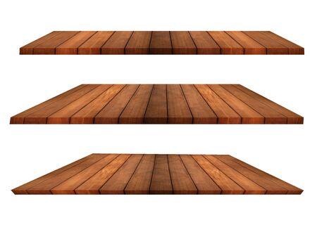 Collection isolée d'étagères en bois de teck ou de pin en perspective sur fond blanc à utiliser pour afficher la publicité du produit. Chemin de détourage. Banque d'images