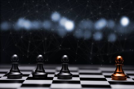 Red pawn chess stepped out of group to show different thinking ideas and leadership. Business technology change and disruption for new normal concept.