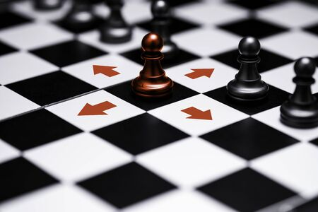ed pawn chess stepped out of line to show different thinking ideas and leadership. Business technology change and disruption for new normal concept.