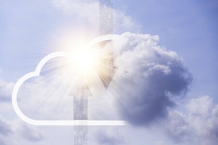 Virtual cloud computing and actual clouds with blue sky.Cloud computing is system for sharing download and upload big data information.