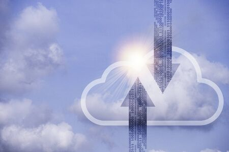 Virtual cloud computing and actual clouds with blue sky.Cloud computing is system for sharing download and upload big data information. Zdjęcie Seryjne - 146565188