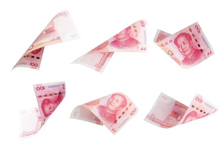 Isolated of 100 China renminbi Yuan banknote currency flying collection on white background. China have high economic growth and Yuan currency is the main exchanging. 스톡 콘텐츠