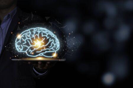 The virtual brain on tablet. Creative new business idea concept.