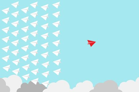 Red paper plane out of group with white paper to change disrupt and finding new normal way on blue background. Lift and business creativity new idea to discovery innovation technology.