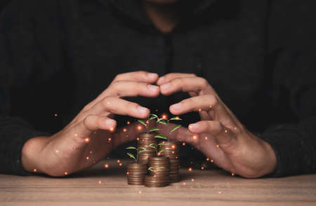 Hand protecting coins stacking with plant growth on the table. Money saving dividend yield and return profit investment concept.