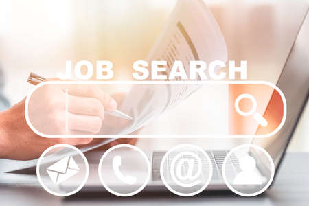 Career recruitment occupation find new job from job search in website and newspaper.