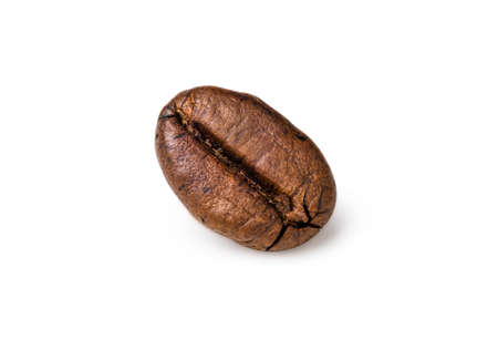 Single fresh roasted dark brown arabica coffee beans isolated on a white background with clipping path. 스톡 콘텐츠