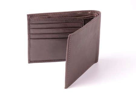 Isolated of brown leather wallet  on white background.