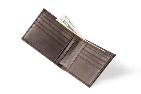 Isolated of brown leather wallet bifold with money banknotes on white background.
