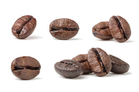 Collection of fresh roasted dark brown arabica coffee beans isolated on a white background Zdjęcie Seryjne