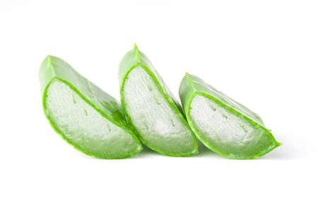 Isolated of collection fresh Aloe Vera slice on white background