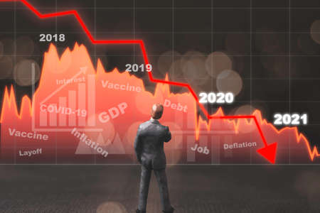 Miniature figure Businessman standing and seeing red stock investment graph which continuous decrease. Economic depression due to COVID-19 epidemic concept.