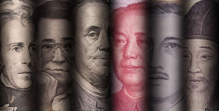 Currency exchange and forex investment concept, Face of national leader of variety banknote in the world such as dollar Yuan Baht Won and Piso.
