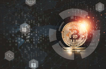 Golden Bitcoins with binary number for Digital block chain and cryptocurrency exchange concept.