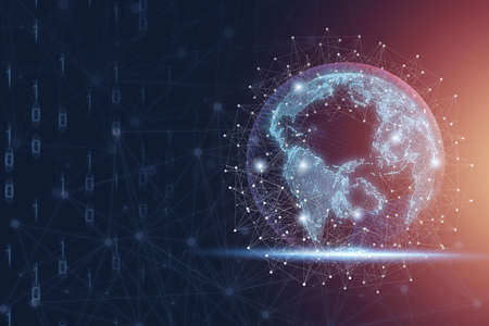 World with connection line and glowing light, global networks for business and technology innovation and big data transformation concept