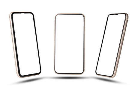 Smartphone mockup , Isolated of Three angles mobile phone with blank screen frame template on white background. 版權商用圖片