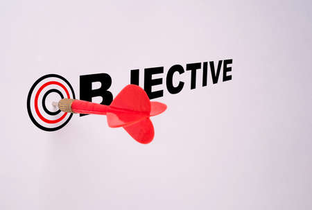 Red dart arrow hit on target board and white background, Business Achievement objective target concept. 版權商用圖片