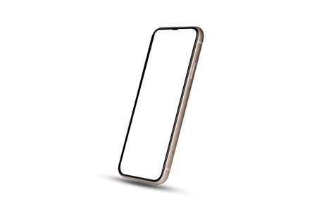 Smartphone mockup , Isolated of mobile phone with blank screen frame template on white background.