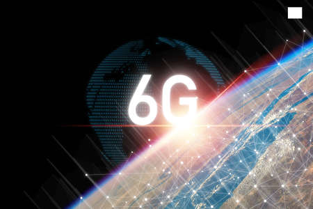6G technology on earth and info graphics world with beautiful light , six generation of high speed internet technology which will change communication and lifestyle in the future. 스톡 콘텐츠