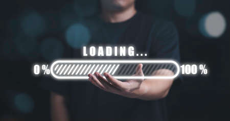 Man holding virtual loading on hand ,Technology and business progress concept.