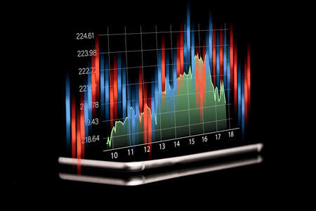 Technical analysis investment graph for trader , Stock market investment and business growth concept.
