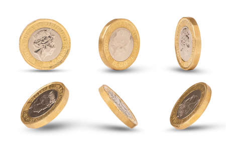 Closeup of Isolated of One Pound sterling coins on white background with clipping path. Zdjęcie Seryjne