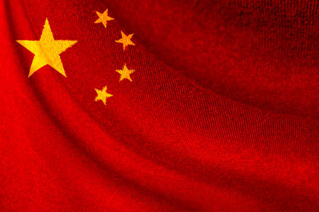 Closeup of China flag waving for background and texture. Republic of China country is long cultural history and high growth economic technology.